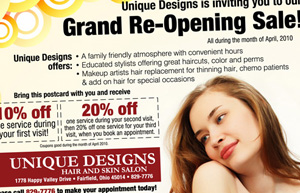 Unique Designs Grand Opening Postcard, 2010